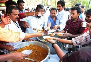 Beef fests were held and the meat distributed among public at over 200 places in Kerala , to protest Centre's recent ban on cow slaughter.