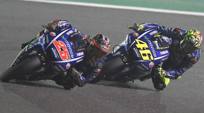 Valentino Rossi (right) qualified behind teammate Maverick Vinales (left) for place in the front row of the Italian Grand Prix