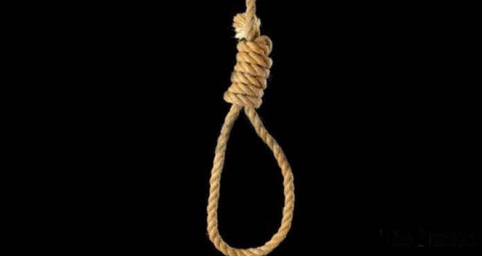 husband hanged in front of wife
