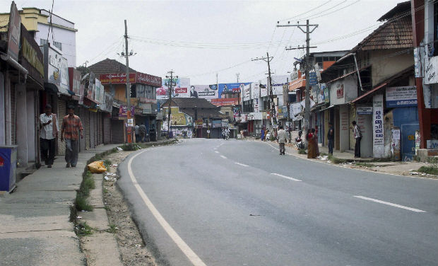 road blocked at alappuzha bjp hartal
