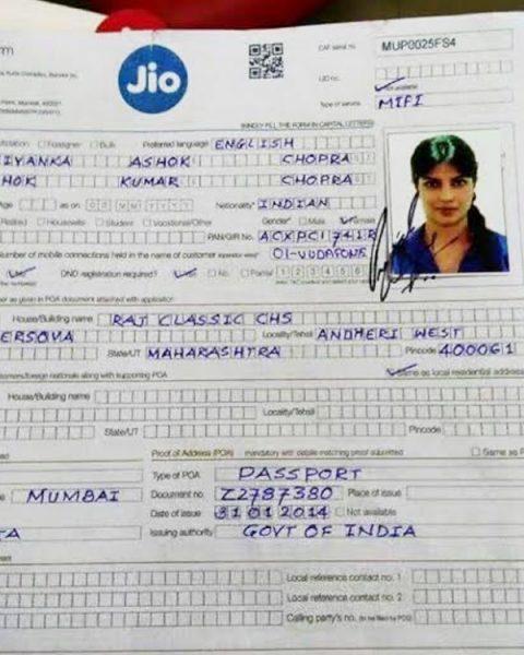 priyanka chopra application form