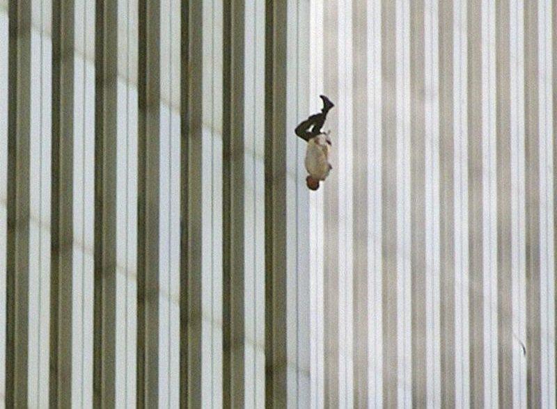 man jumbing from WTC