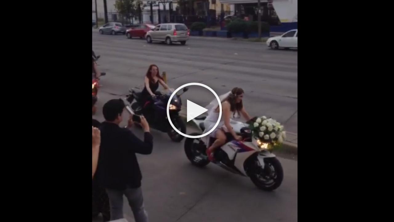 bride in bike