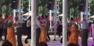 old couple romantic dance