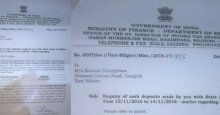 notice from tax department for deposit
