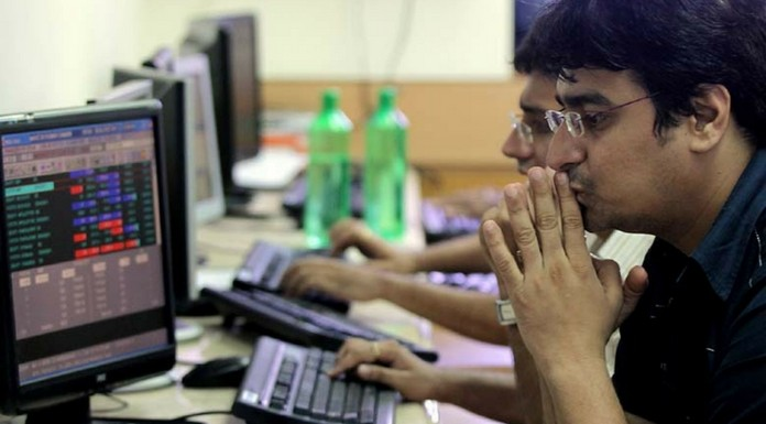 fall in stock market sensex touches 28442 sensex 98 point down