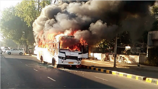 school bus caught fire
