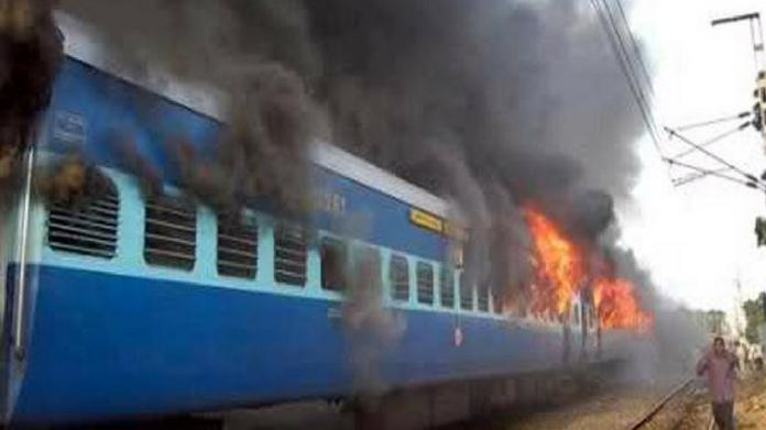 fire in train kerala