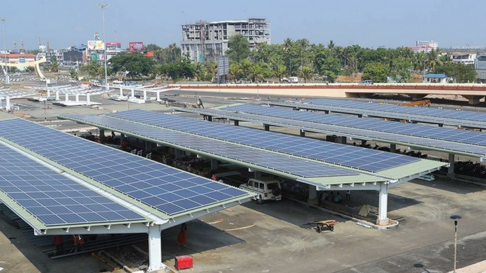 india's largest solar carport at cial