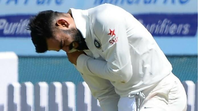 kohli gets injured in test
