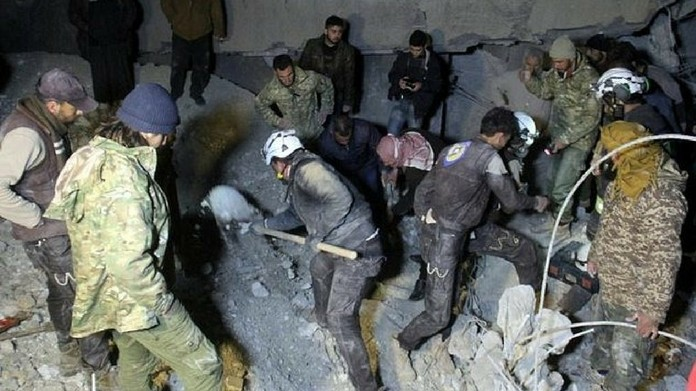 us airstrike at syria mosque killed 49