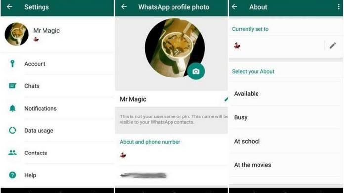 whatsapp text status come back
