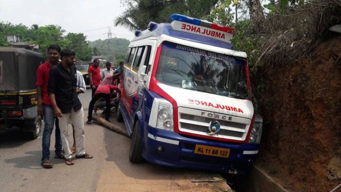 ambulance met with an accident at venjarammoodu