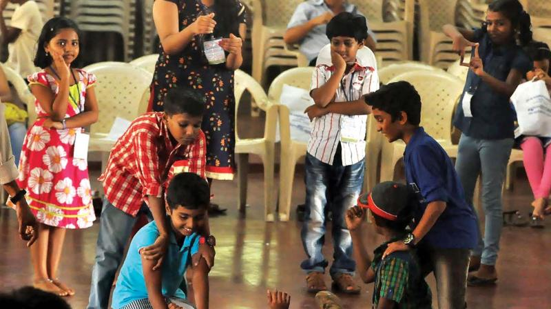 children celebrate childhood in summer camps