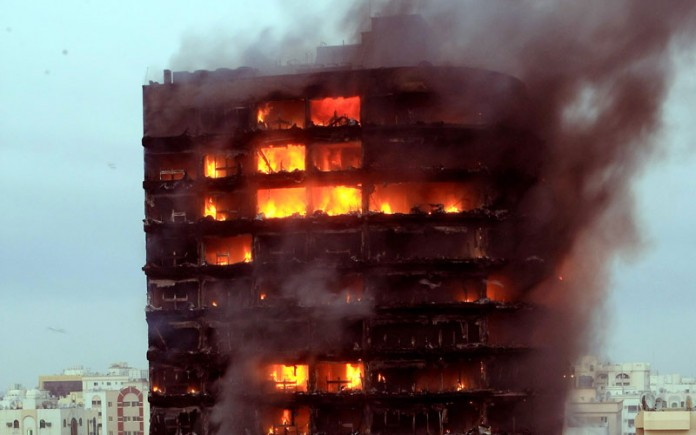 massive fire outbreak at sharjah