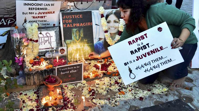 Protest against the release of juvenile convict in Nirbhaya case