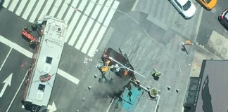 time square car rammed footpath