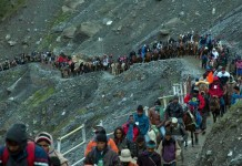 heavy rain and landslide amaranth journey halted temporarily amarnath journey restarted