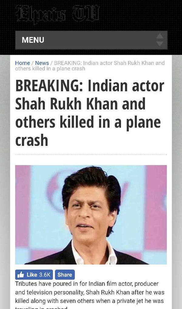 shahrukh khan death hoax
