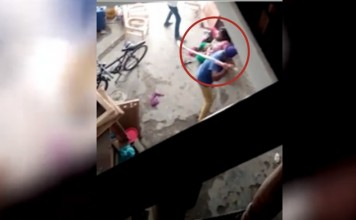 Shocking video shows man beating wife for having a baby girl