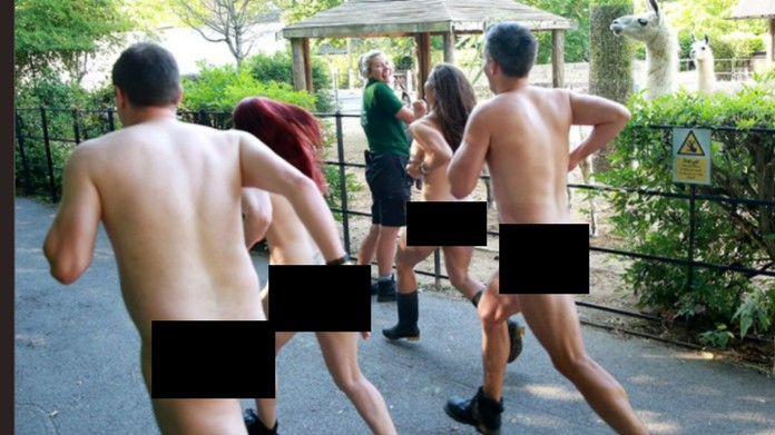London Zoo staff members strip off for charity event