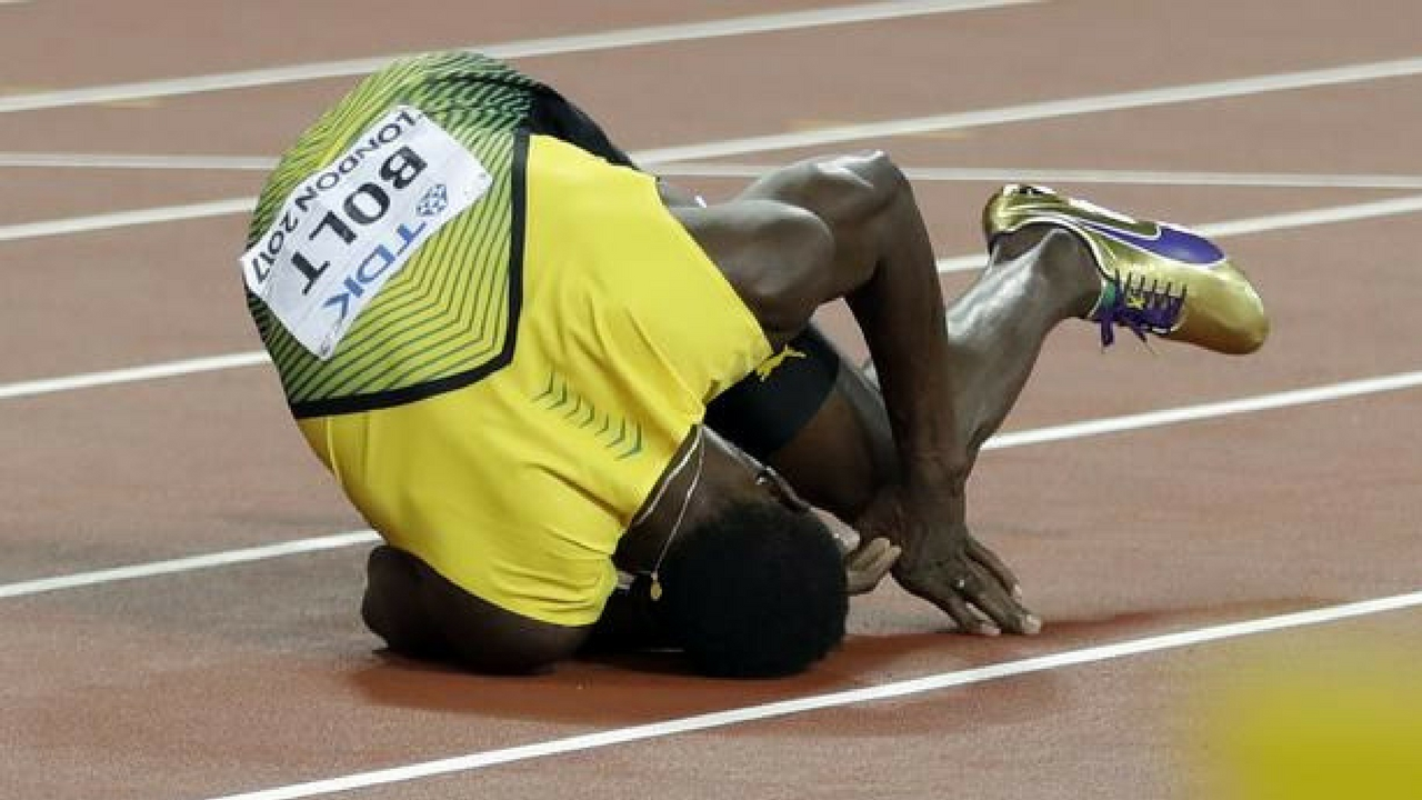 Usain Bolt crashes out of his last ever race