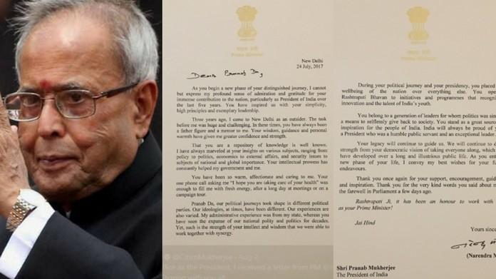 pm modi letter to president pranab mukherjee
