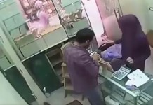 shocking robbery scene CCTV footage
