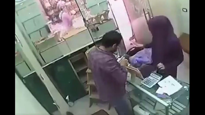 shocking robbery scene CCTV footage