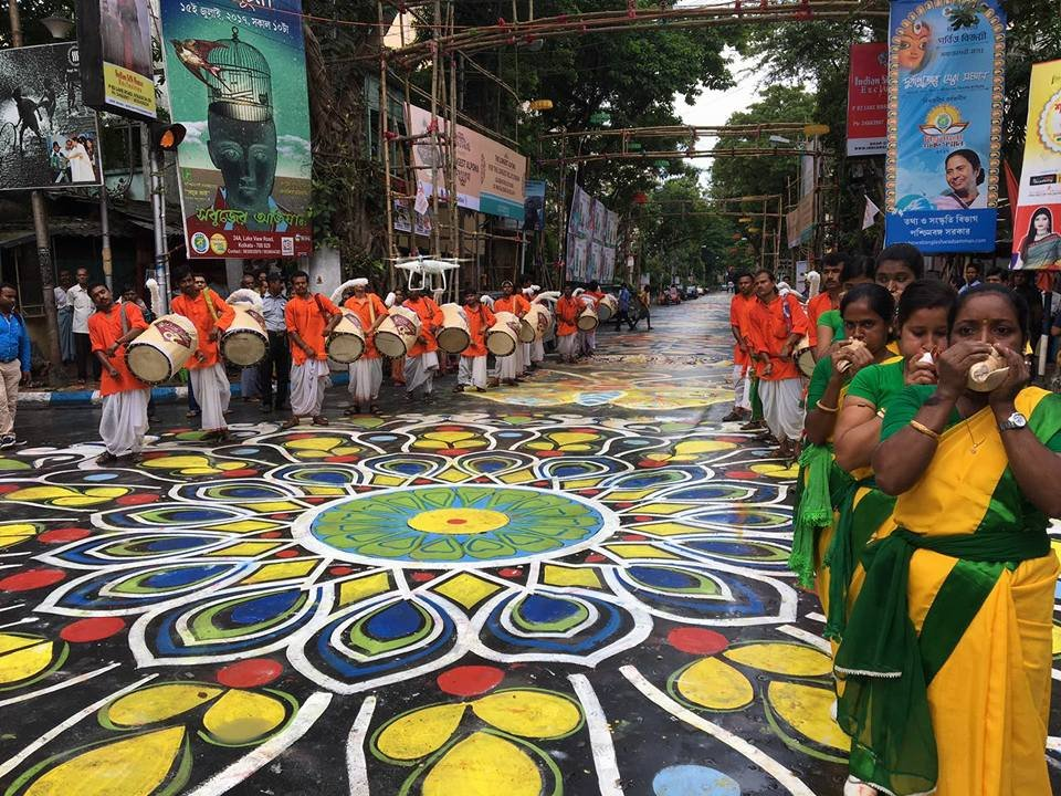 mighty rangoli in kolkatta