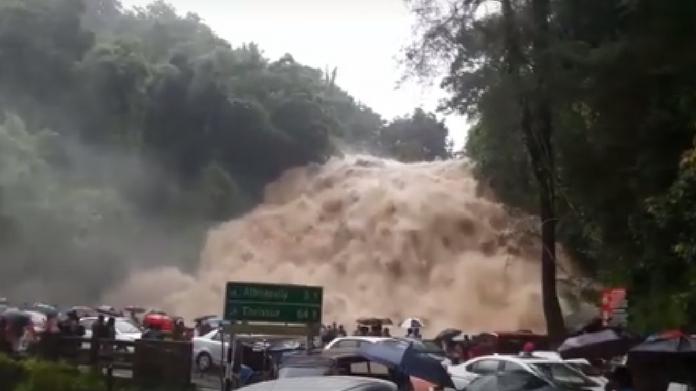 charpa falls during heavy rain kerala