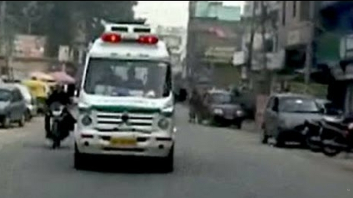 ambulance ambulance with 5 month old baby set out to kochi from tvm