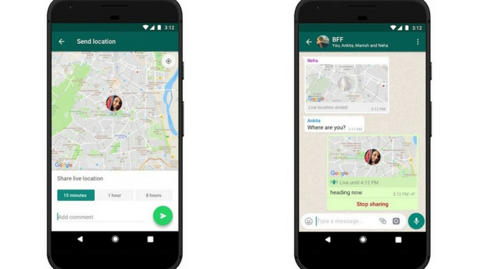 whatsapp launches live location feature