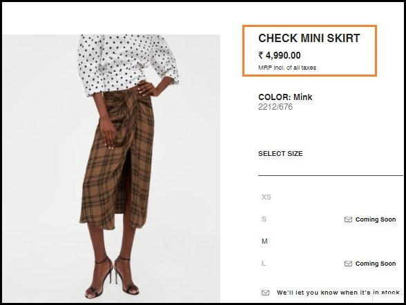 lungi available on zara with heavy price