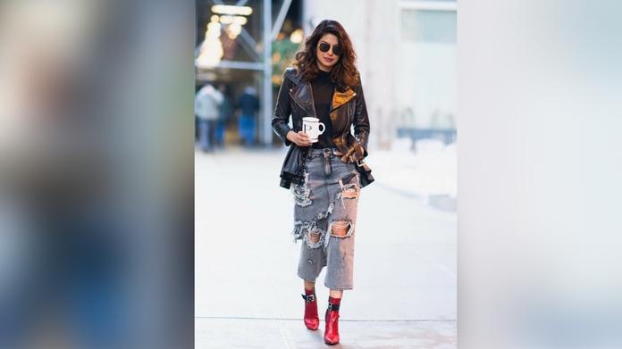 Priyanka Chopra Wore a Cool Denim Skirt Hybrid