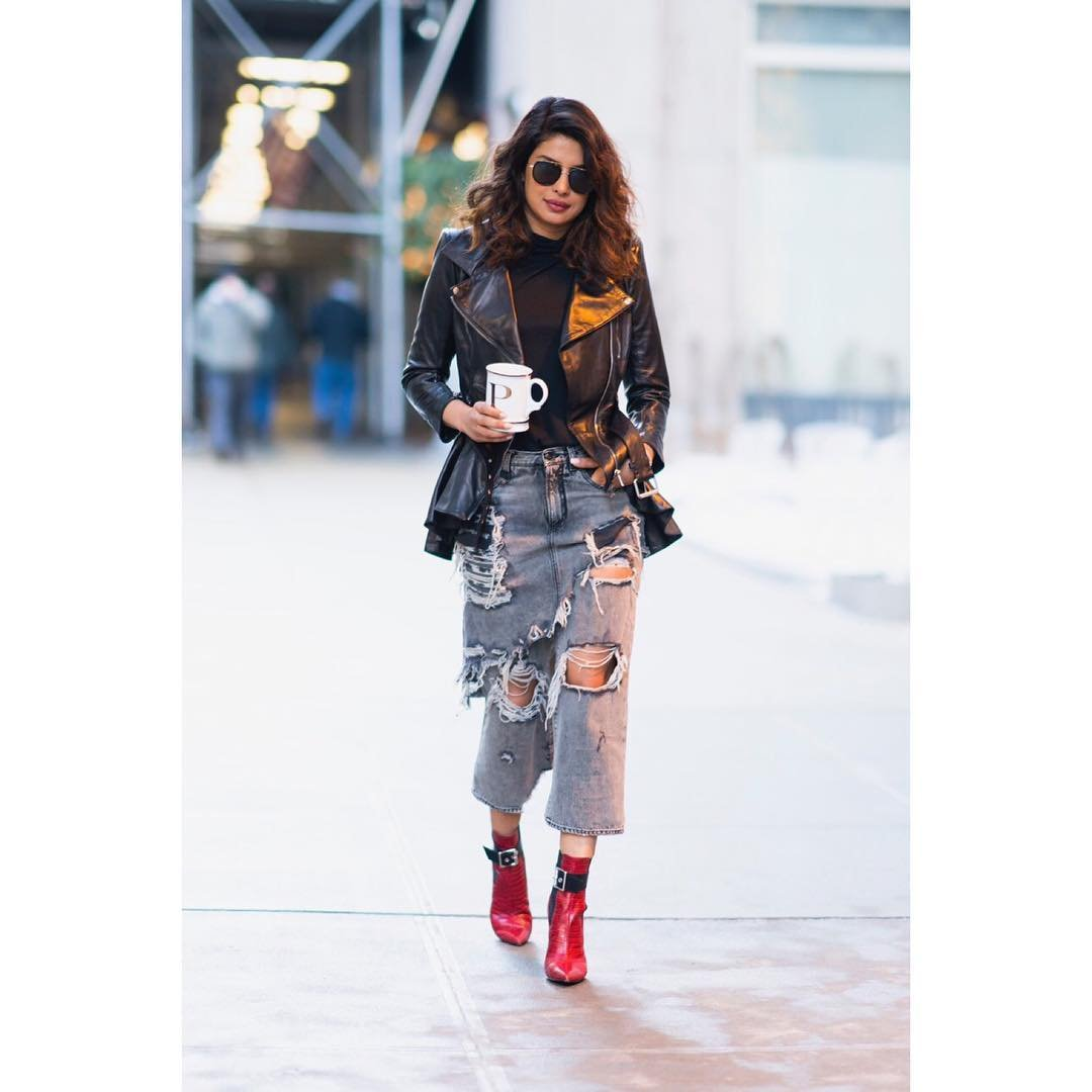 Priyanka Chopra Wore a Cool Denim Skirt Hybrid