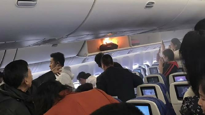 power bank in airplane catches fire