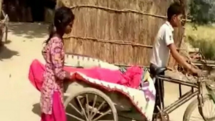 differently abled son carries father dead body for 8 km
