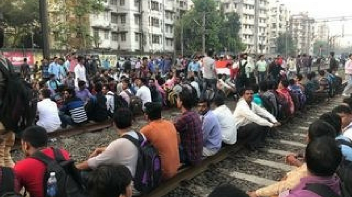 train transport hindered in mumbai rail roko protest