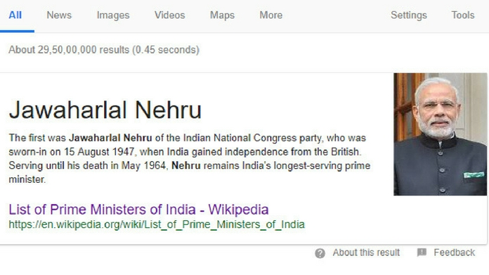google lists narendra modi as indias first prime minister