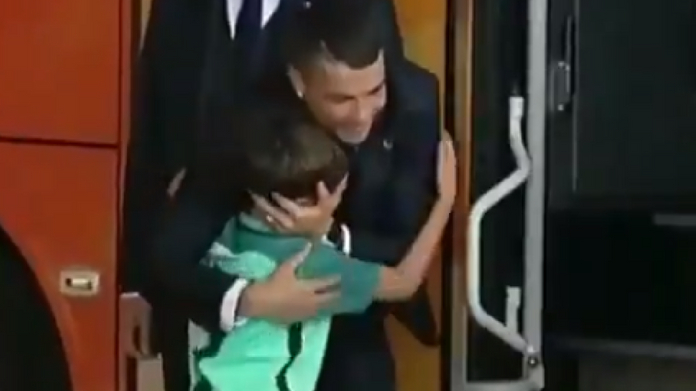Young fan moved to tears after hugging christiano ronaldo
