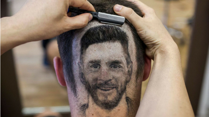 messi face in hair