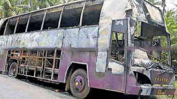 chavakkad luxury bus burned while moving