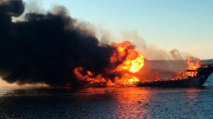 kollam fish boat caught fire