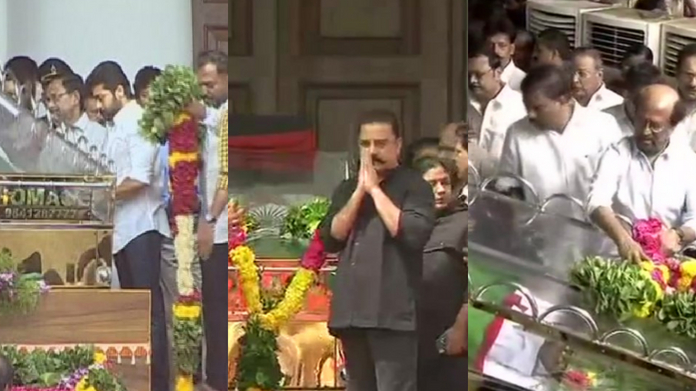 prominent personalities comes to pay last respect to karunanidhi