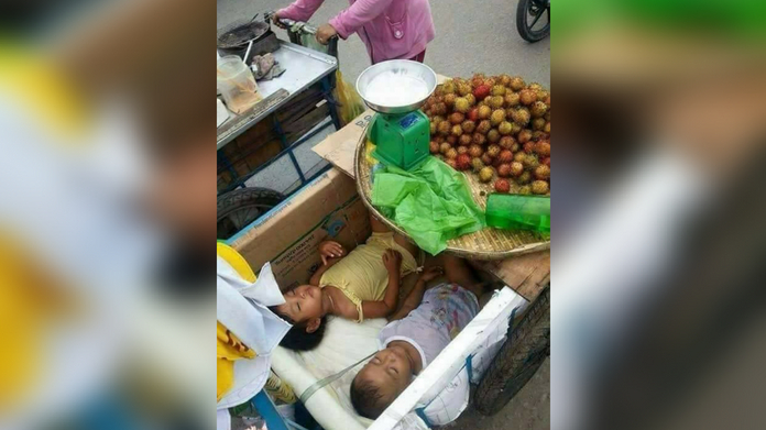 story behind the photo of rambutan merchants who are forced to carry their children in their cart