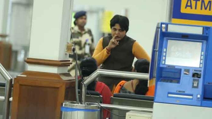 protest against trupti desai in mumbai airport