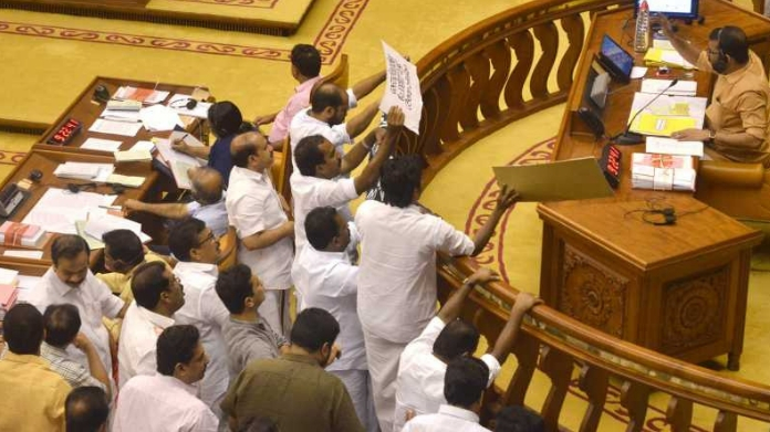ruckus in assembly over sabarimala row
