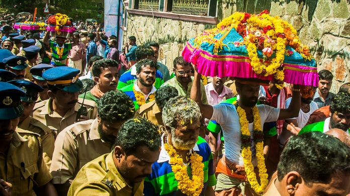 thiruvabharanam procession completed first day tour