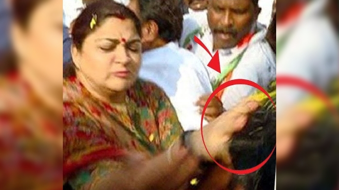 khushbu slaps man who misbehaved while election rally